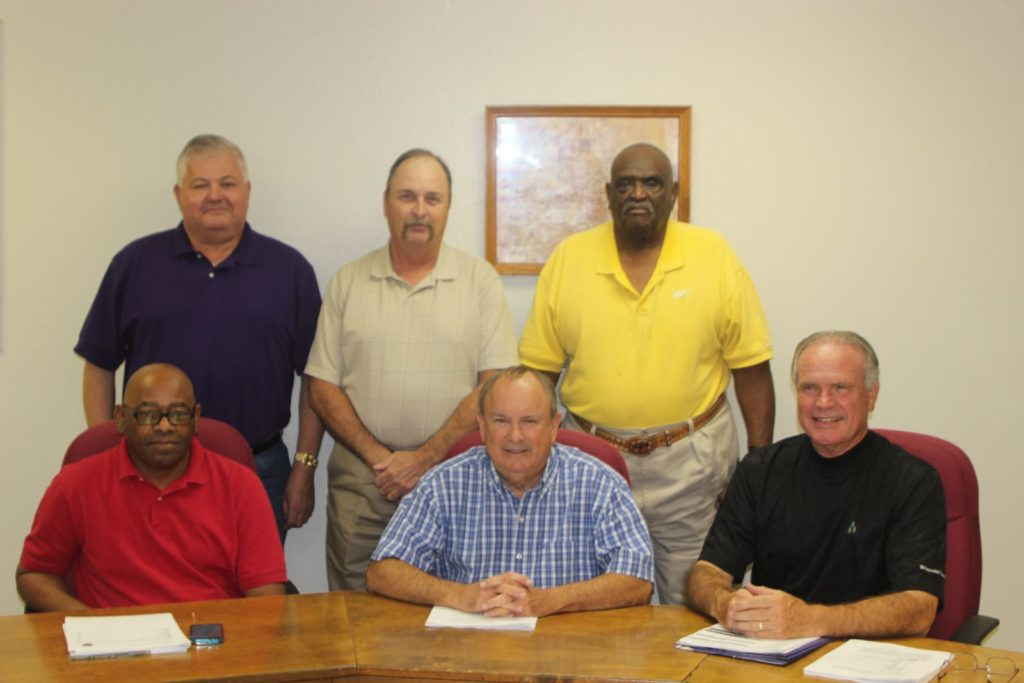 Front Row L-R: Ralph Bennett, Byron Richards-Mayor, Joe Don Kennedy  Back Row L-R: Tommy Walton, Stephen Casper, Glen D, Ward, Sr.-Mayor Pro Tempore